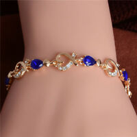 18K GOLD EP 3 CT DIAMOND SIMULATED SAPPHIRE HEARTS LINK BRACELET