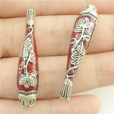 16247*2PCS Enamel Cloisonne Fish Flower 37.5mm Spacer Beads Copper