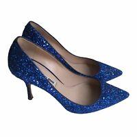 MIU MIU Women's Size 35.5 US 5.5 Blue Glitter-finished Party leather pumps