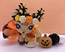 Authentic Littlest Pet Shop # 1620 Tan Brown Blythe Deer Vines Halloween Antlers