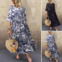 ZANZEA 8-24 Women Vintage Retro Bohemian Floral Dress Maxi Long Caftan Kaftan