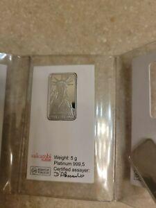 5 gram Credit Suisse Statue of Liberty 1985 Platinum Bar .999 Fine(In Assay)