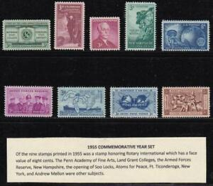 U S 1955 Commemorative Year Set (9 stamps) Mint Never Hinged