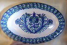 "Vintage 1960's Majolica Cobalt Blue & Green 13 1/4"" PLATTER Hand Painted"