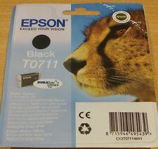 Genuine EPSON T0711 TO711 Negro cartucho sellado al vacío Tinta Original OEM Guepardo