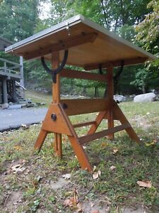Vintage Antique ANCO BILT Industrial Drafting Table Oak and Iron Free local P/U