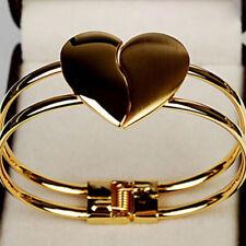 Fashion Women's 18K Gold Plated Heart Design Cuff Charm Bangle Bracelet Jewelry
