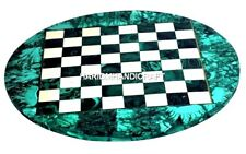 Marble Console Chess Table Top Mosaic Inlay Arts Malachite Marquetry Decor H2046