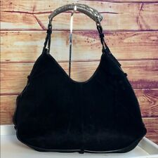 Yves Saint Laurent Black Suede Mombasa Hobo Bag Size OS