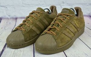 adidas Superstar Kids Boys Sneakers Shoes Casual Suede Olive Green Size 5