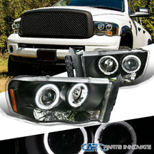 Dodge 02-05 Ram 1500 2500 3500 Pickup LED Halo Projector Headlights Lamps Black