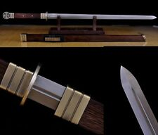 "dFolded Pattern Steel Chinese Sword ""Tang Jian""(劍) Handmade Sharp Blade #7789"