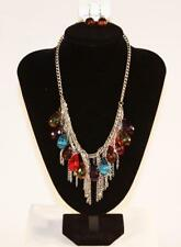 "BOGOT 23"" Silvertone Boho Bibb Necklace & Earrings Set Fashion Jewelry New jxbz"