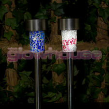 Solar Power Mosaic Stake Color Changing Outdoor Lawn LED Light Set of 2