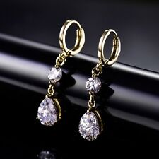 Vintage Gold Tone Gold Filled White Swarovski Crystal Womens Dangle Earrings