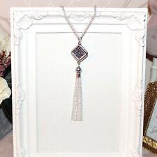 ce7e736bd6c1 Aleta 1920s Plata Borla Collar De Plata Con Druzy Y Diamantes De Imitación  Imitación
