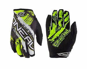 O'Neal Jump SHOCKER Full Finger Men's Cycling Gloves Size L/9 Black Neon Yellow