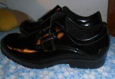 Skechers Mens 10 M Black  PATENT Leather Monk Strap Shoes Buckle