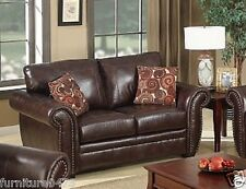 Brown Leather 2 Seater Sofa Suite HIGHBURY