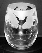 More details for pheasant frieze boxed 36cl crystal stemless wine / water glass