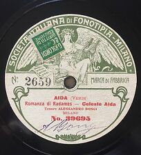 """RARE 78RPM 11"""" FONOTIPIA TENORE ALESSANDRO BONCI CELESTE AIDA VERDI AMOR TI VIET"""