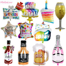 Happy Brithday Cake Bottle Foil Balloons Kids Baby Shower Bachelor Party Decor