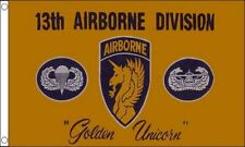 """13th Airbourne Division 5'x3' Flag """"Golden Unicorn"""" USA Military Army Air Force"""