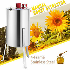4-Frame Manual Honey Extractor Ss Beekeeping Equipment Spinner Drum w/ Stands/