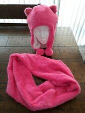 Children's Place Girls Pink Faux Fur Cat Hat & Infinity Scarf