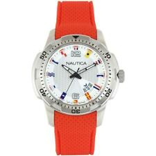 Mens Watch NAUTICA NCS 16 NAI13513G Flags Silicone Red White NEW
