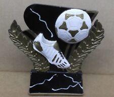 Soccer ball and shoe award trophy resin black