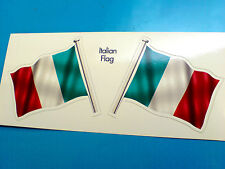 ITALIAN ITALY Flag & Pole Motorcycle Car Bumper Stickers Decals 2 off 60mm