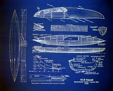 "Wood and Canvas KAYAK Boat 1934 Blueprint Plan Drawing 20""x24"" (007)"
