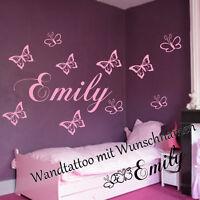 Wandtattoo Wunschnamen mit Schmetterlingen Aufkleber Kinderzimmer  Baby Geschenk