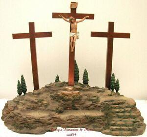 "FONTANINI ITALY 5"" LITED CRUCIFIXION SCENE 4PC CHRIST ON CROSS EASTER 50601 MIB"