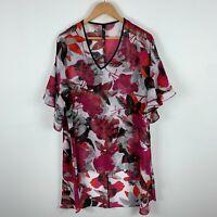 TS Taking Shape Womens Dress 16 Multicoloured Floral Flutter Short Sleeve V-Neck