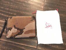Christian Louboutin paris studded camo pony skin ipad cover / clutch bag
