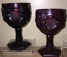 Two Avon 1876 Ruby Red Cap Cod Collection Wine Goblet Candle Holder - LOT