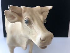 Large Old Vintage Chalkware Molded Plaster Cow Figure