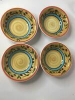 Set Of 4 Royal Norfolk Stoneware Tuscan Olives Soup Cereal Dessert Bowls !!!