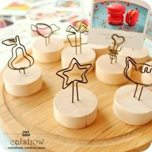 Photo Note Clips Holder Creative Ornaments Design Seat Iron Log Name Card Holder