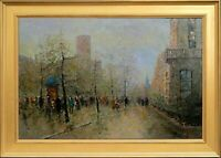 Framed Oil On Canvas Painting, Misty Paris City Landscape, Signed by J Morgan