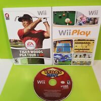 Wii Play  Wii Tiger Woods 08  Wii Vegas Party Nintendo Video Games  Lot of 3