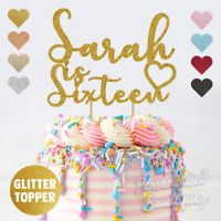 Personalised Custom Glitter Cake Topper, Sweet Sixteen 16th Birthday Party Text