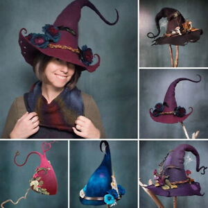 Women Halloween Party Adjustable Felt Witch Hats Masquerade Cosplay Party Props
