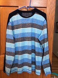 Mens LululemonVelocity Long Sleeve Technical Shirt Blue striped running XL NWOT