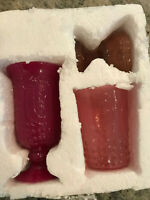 Pottery Barn Set of 3 Pressed Glass Pink Votive Candle Holders NEW IN BOX