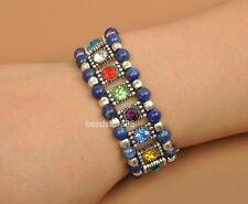 tibetan silver  mix color rhinestone Lapis lazuli stone beads  elastic Bracelets