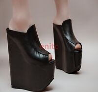 Sexy Platfrom 17cm Wedge High Heel Peep Toe Womens Sandal Shoes Slippers Pumps