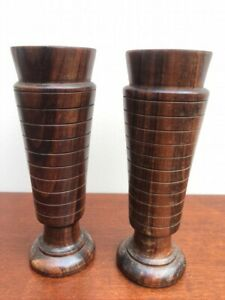 Vintage Decorative Pair of Hand Turned Wooden Vases